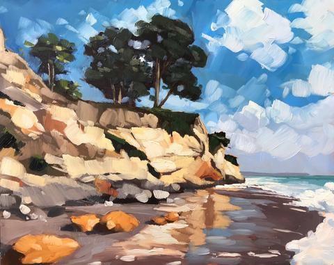 """Leadbetter Beach, November"" original fine art by Sharon Schock"