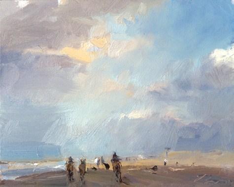"""""""Seascape winter 15 Towards the light - horses running (sold) zeegezicht met paarden"""" original fine art by Roos Schuring"""