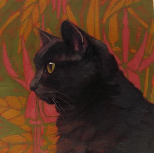 """Coco in Profile, every house needs a cat"" original fine art by Diane Hoeptner"