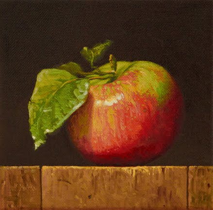 """Apple with Leaves (fundraiser)"" original fine art by Abbey Ryan"