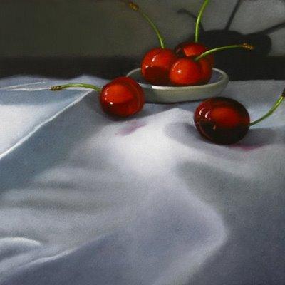 """Cherries On Linen 6x6"" original fine art by M Collier"
