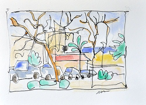 """Hillcrest Watercolor Painting, San Diego"" original fine art by Kevin Inman"