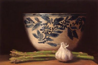 """Asparagus and Garlic with Chinese Bowl"" original fine art by Abbey Ryan"