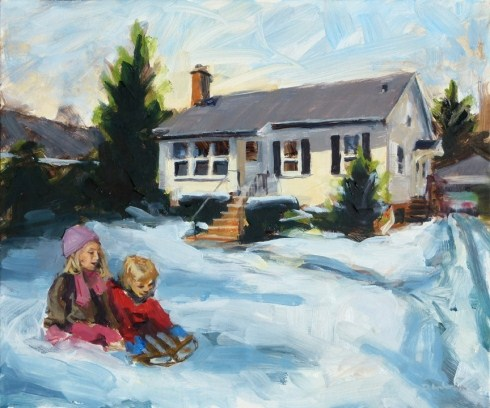 """""""Oil painting of Henley Street house"""" original fine art by Deb Anderson"""