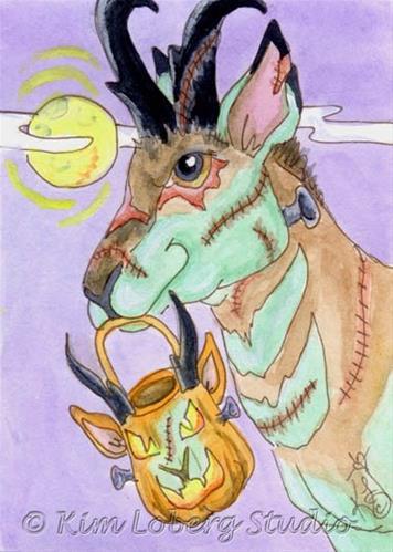 """Frank the Zombie Pronghorn Antelope"" original fine art by Kim Loberg"