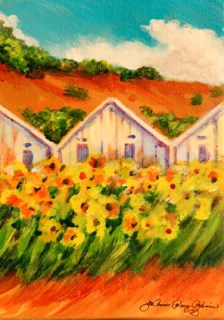 """Old, White Green Houses"" original fine art by JoAnne Perez Robinson"