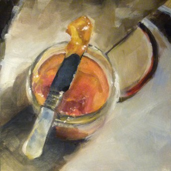 """Oil Painting of Peach Jam"" original fine art by Deb Anderson"