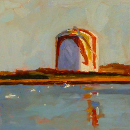 """""""8x8 oil on cradled board. This iconic Gas Tank in Boston and is a local landmark. It's famously painted"""" original fine art by Mary Sheehan Winn"""