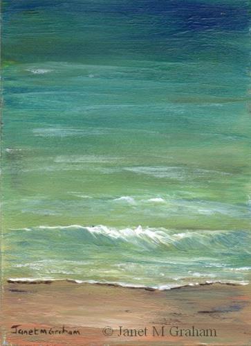 """""""Seascape 5 ACEO"""" original fine art by Janet Graham"""