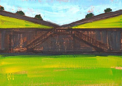 """Moat at Montjuic"" original fine art by Kevin Inman"