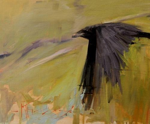 """Teton Raven  Grand Teton National Park, studio painting by Robin Weiss"" original fine art by Robin Weiss"