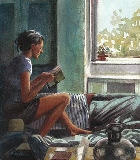 """Watercolor: Reading Light"" original fine art by Belinda Del Pesco"