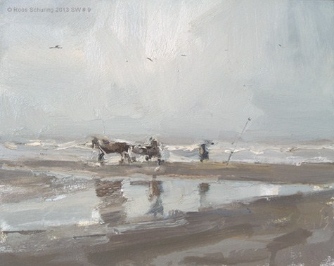 """Seascape winter 9 Horse carriage and fisherman (Zeegezicht) (available)"" original fine art by Roos Schuring"