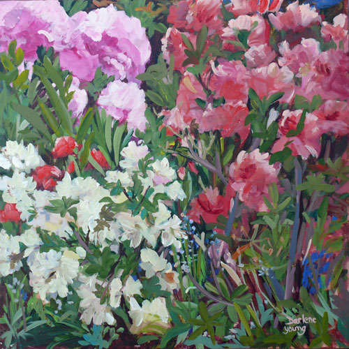 """Beacon Hill Park Rododendrons"" original fine art by Darlene Young"