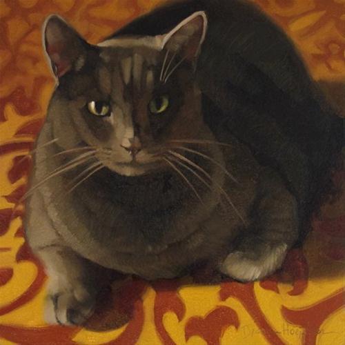 """Golden Gray oil painting of cat on scroll pattern"" original fine art by Diane Hoeptner"