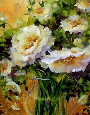 """White Roses and a New Workshop by Texas Flower Artist Nancy Medina"" original fine art by Nancy Medina"