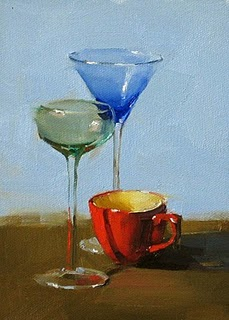"""""""Let's Drink"""" original fine art by Qiang Huang"""