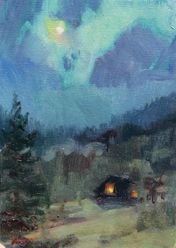 """""""Cabin Moonlight"""" original fine art by V.... Vaughan"""