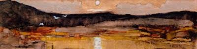 """""""Moonrise - Ink On Copper."""" original fine art by Julie Ford Oliver"""