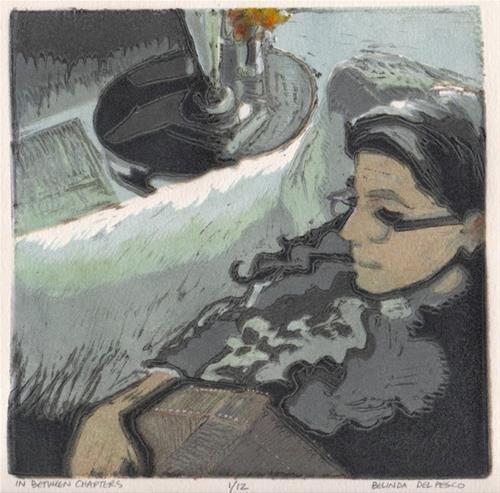 """Linocut: In Between Chapters (6-color reduction block print, with a demo video)"" original fine art by Belinda Del Pesco"