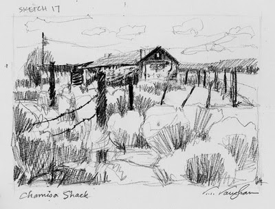"""Chamisa Shack__sketch, New Mexico, adobe"" original fine art by V.... Vaughan"