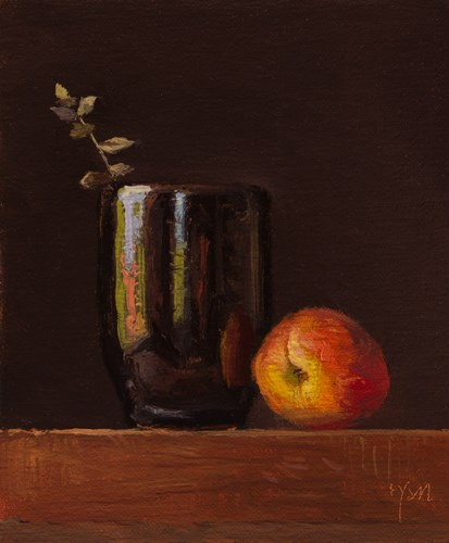 """Still Life with Peach & Eucalyptus (+ a Review of my Workshop)"" original fine art by Abbey Ryan"