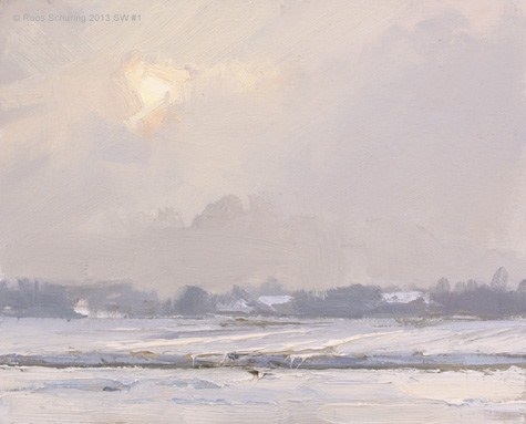 """""""Landscape winter 1 Hazy sun and snow (Sneeuw) (available)"""" original fine art by Roos Schuring"""