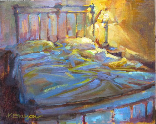 """Bed Challenge"" original fine art by Karen Bruson"