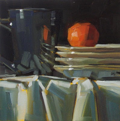 """Orange Stack"" original fine art by Carol Marine"