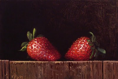 """Strawberries in Early Morning Light"" original fine art by Abbey Ryan"