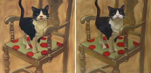 """""""Cat on Chair, before and after repaint"""" original fine art by Diane Hoeptner"""