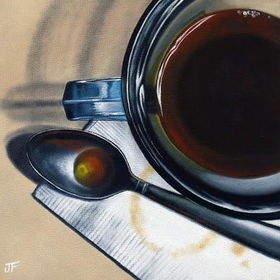 """Coffee Study for 'Late Night'"" original fine art by Jelaine Faunce"
