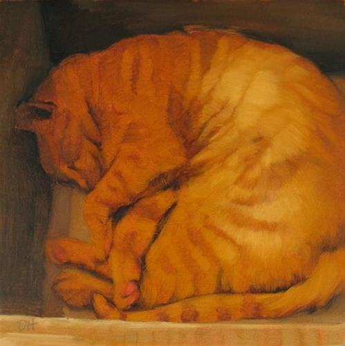 """Cat in Box because cats love boxes"" original fine art by Diane Hoeptner"