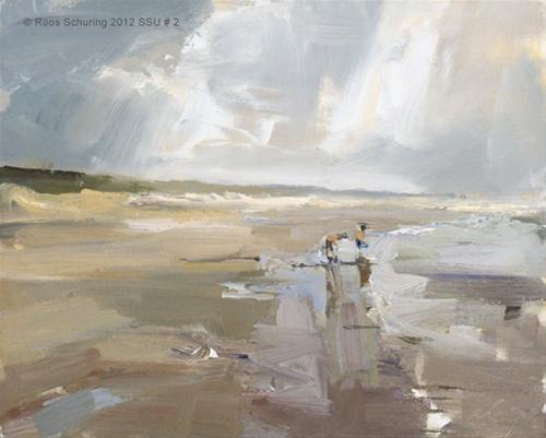 """""""Seascape summer # 2 Kids playing water (sold)"""" original fine art by Roos Schuring"""
