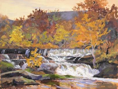 """Autumn Color at Tioronda Falls"" original fine art by Jamie Williams Grossman"