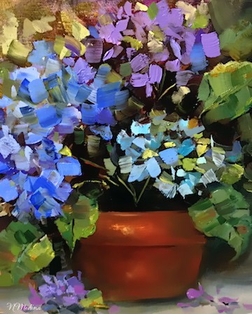 """Skyfall Blue Hydrangeas and a Coronado Island Solo Show by Texas Flower Artist Nancy Medina"" original fine art by Nancy Medina"