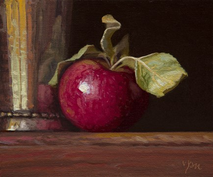 """""""Silver Cup and Apple with Leaves  (+ #digitaldetox Innernet)"""" original fine art by Abbey Ryan"""