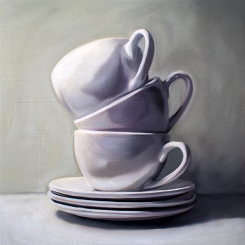"""Stacked Cups and Saucers"" original fine art by Lauren Pretorius"