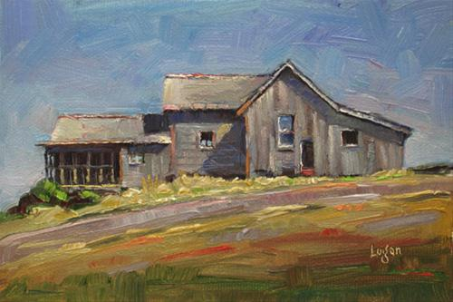 """SLO Gray House"" original fine art by Raymond Logan"