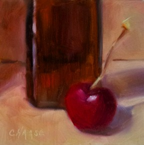 """""""Cherry and Brown Bottle"""" original fine art by Cindy Haase"""