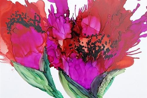 """Poppy Delight II, 5 x 7 Alcohol Ink, Floral"" original fine art by Donna Pierce-Clark"