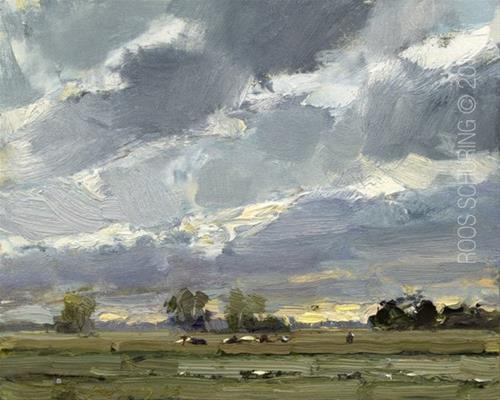 """Evening Landscape Cows Far Away"" original fine art by Roos Schuring"