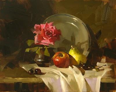 """Rose and Fruit"" original fine art by Qiang Huang"