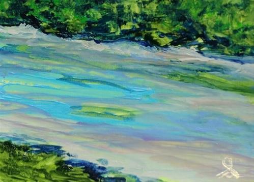 """3156 - RIVER ESTUARY - ACEO Series"" original fine art by Sea Dean"