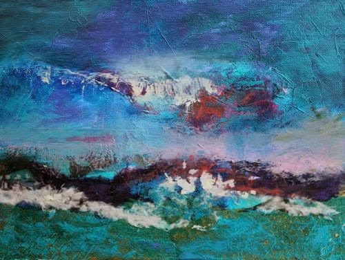 """""""Abstract Seascape, Contemporary Paintings by Arizona Artist Amy Whitehouse"""" original fine art by Amy Whitehouse"""