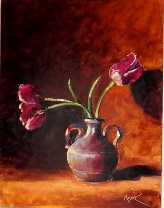 """TULIPS IS A VASE - SOLD"" original fine art by Olga Wagner"