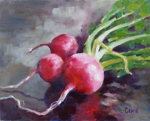 """""""Radishes, 8x10 Oil on Canvas Board"""" original fine art by Carmen Beecher"""