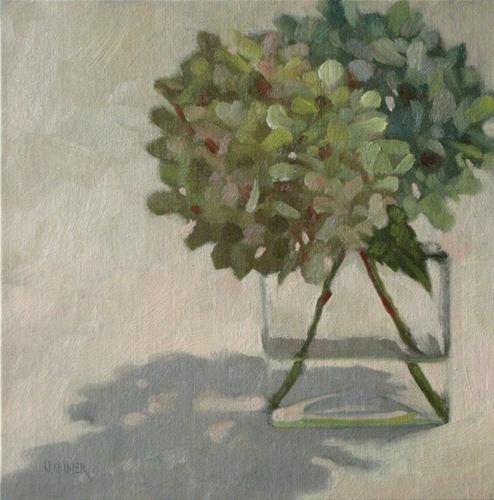 """Two green Hydrangeas  8x8 oil"" original fine art by Claudia Hammer"
