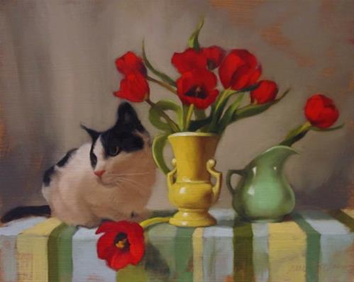 """""""Tuxedo and Tulips and a Ramble on the Color Green"""" original fine art by Diane Hoeptner"""