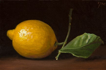 """Hand-picked Lemon with Leaf"" original fine art by Abbey Ryan"